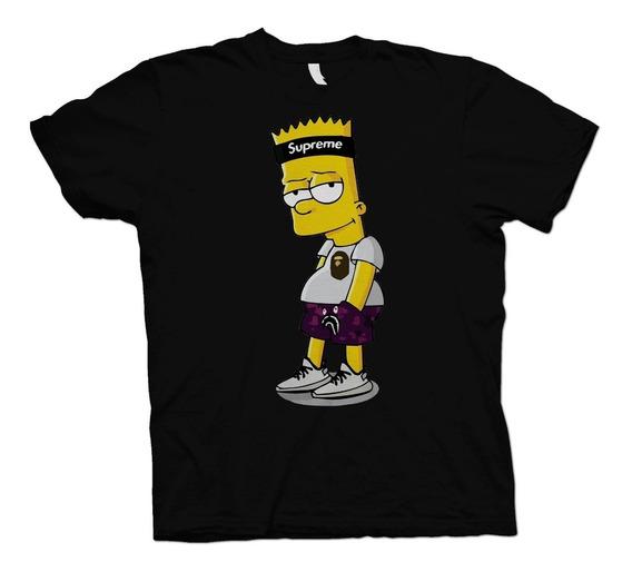 Playera Algodón Simpson Bart Supreme Caballero