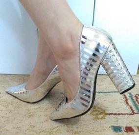 34556dfc7b Sapato Scarpin Couro Metalizado Prata