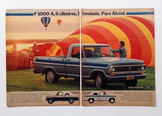 Picape Ford F-1000 Álcool - Propaganda Antiga De Revista