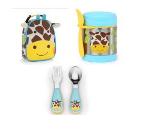 Kit Skip Hop Zoo Girafa Kit Talheres+pote Térmico+lancheira