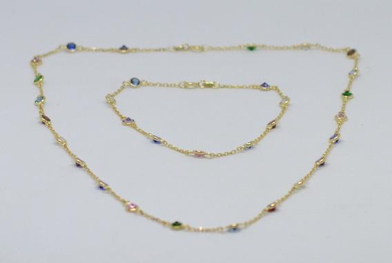 Conjunto Corrente E Pulseira Cartier Ouro 18k 750 Pedras