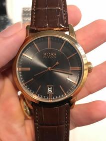 Relógio De Pulso Masculino Hugo Boss Pulseira Couro Marrom