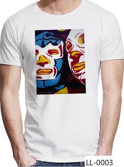 Playera Lucha Libre El Santo Y Blue Demon Arte En Camiseta