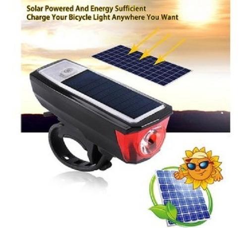 Luz Bicicleta 350 Lum, Panel Solar, Powerbank, Recargable