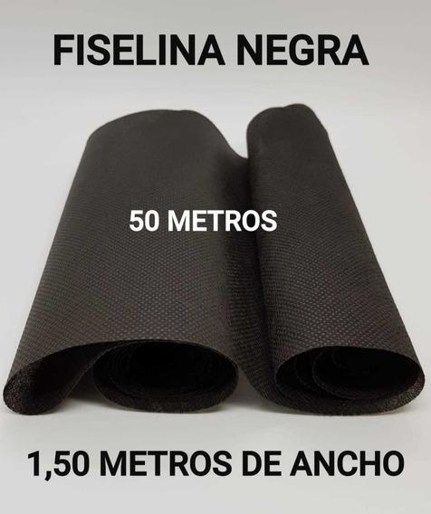 Fiselina Color Negro P/confeccion De Barbijos Rollo X 50 Mts