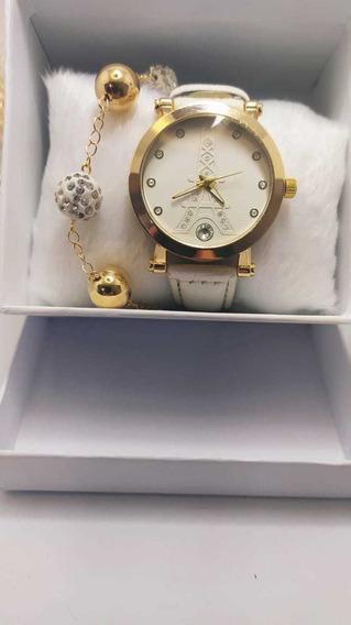 Relógio Feminino Lindo + Pulseira De Brinde! # Dia Dos Namor