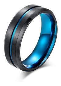Anel Azul Style Aço Inoxidável Unissex