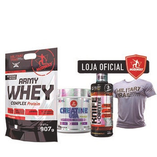 Kit Army Whey Protein + Creatina + L-carnitina + Camiseta Mt