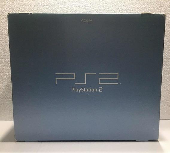 Console Playstation 2/ps2 Aqua Bloqueado - Na Caixa Japonês