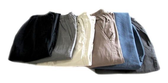 Calça Cargo Sarja Com Elástico E Cordão Na Cintura[36 A 60]