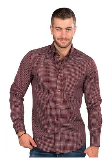 Camisas Hombre Casual Slim Fit Moda Algodon Estampada Puntos