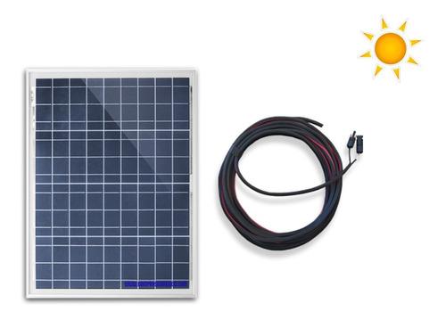 Imagen 1 de 2 de Panel Solar 50 W 12 V Con 10m De Cable Y Conectores Mc4