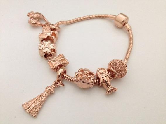 Pulseira Estilo De Pandora Rose Com 7 Charmes