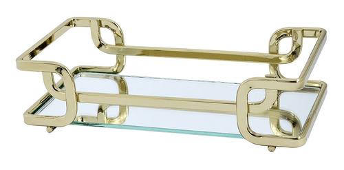 Imagem 1 de 6 de Bandeja Luana 20 X 30 Cm - Dourada - Espelho - Hara