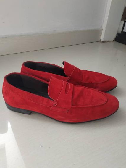 Zapatos Mocasines Cuero Gamuza Rojos Talla 41