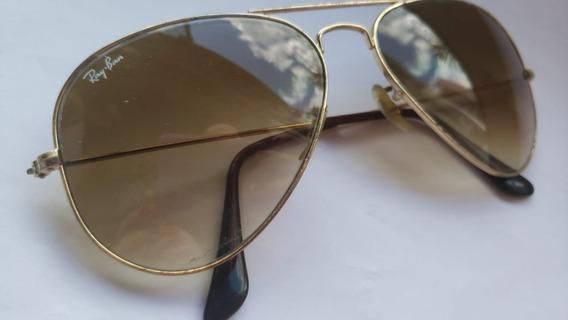 Óculos De Sol Rayban Dourado Femino Aviador Original