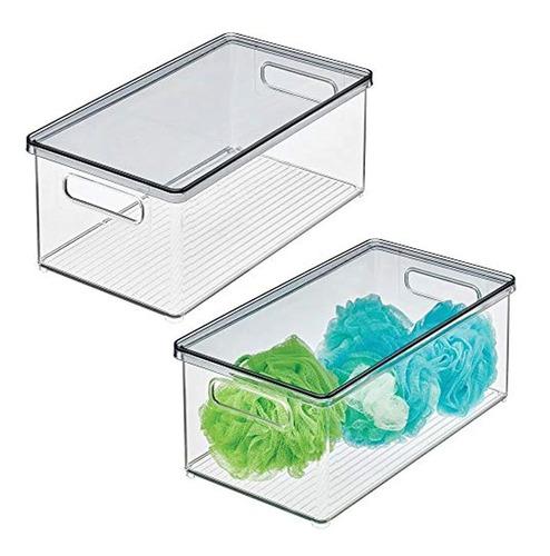 Mdesign - Caja De Almacenamiento Apilable De Plástico Con Ta