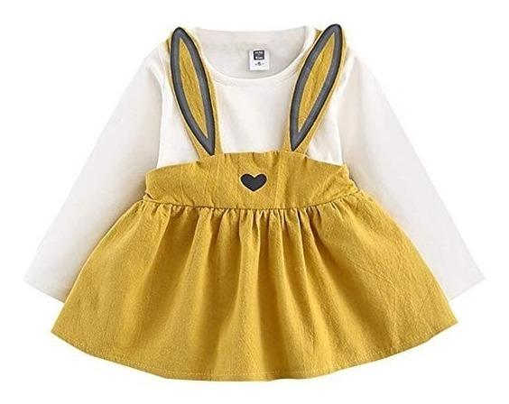 Vestido Niña Bonito Kawaii Orejas De Conejo Bebe Amarillo