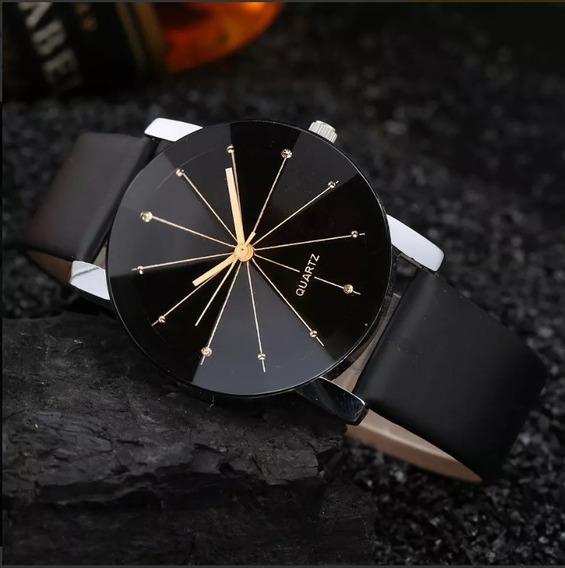 Relógio Feminino Luxo Fashion Couro Preto