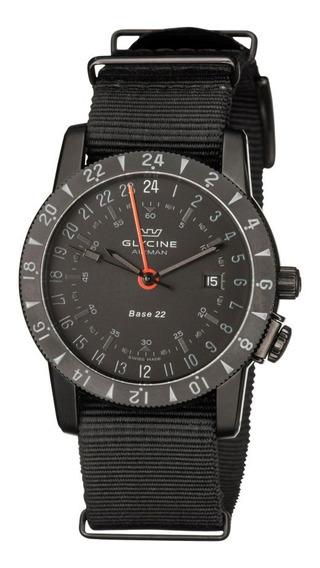 Relógio Glycine Airman Mystery Base 22 Gmt Automático Swiss