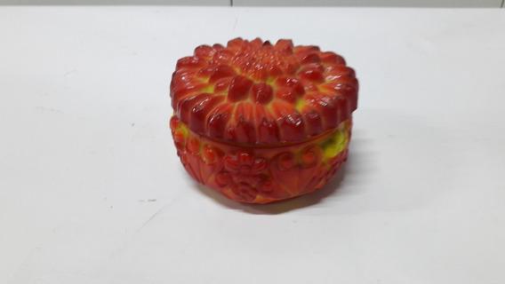 Cajita Redonda En Pasta De Vidrio Francés Con Flor Naranja