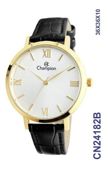 Relógio Social Feminino Dourado Cn24182b Em Couro
