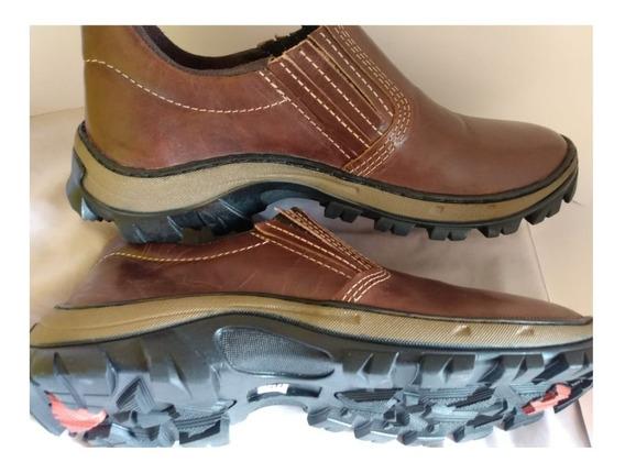 Sapato Elástico Trabalho Ou Passeio Bota Botina Couro De Boi