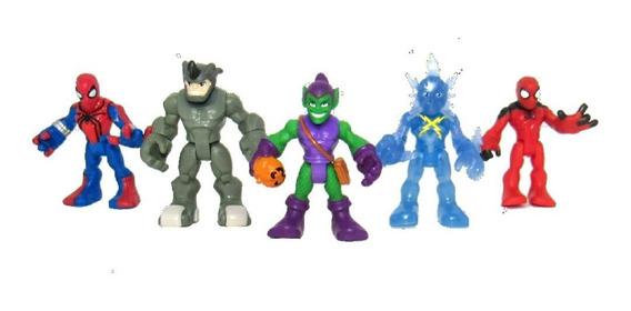 Kit Lote De Bonecos Miniaturas Marvel Playskool J5 Spiderman