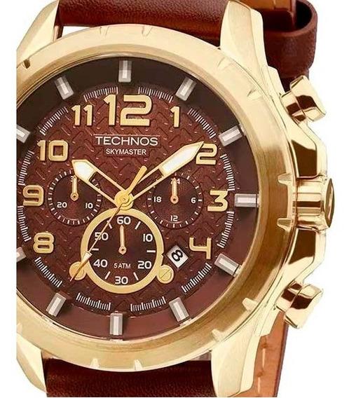 Relógio Masculino Technos Skymaster Js25bg/0m Dourado Couro
