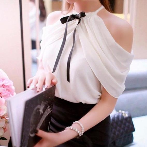 Camisa Blusa Luxo Feminina Elegante Bowknot Importada