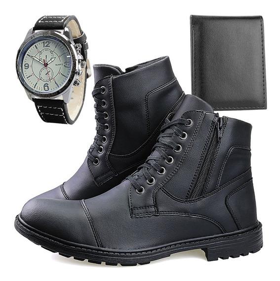Kit Bota Coturno Casual Masculina Ziper + Carteira Relógio