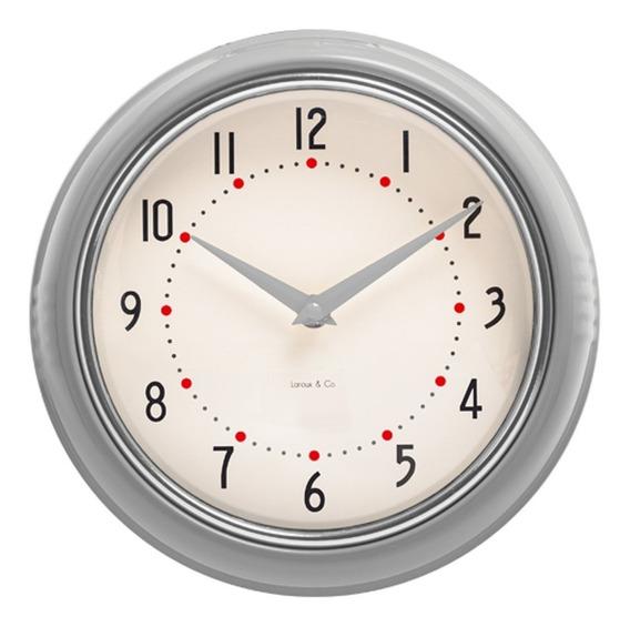Reloj De Pared Gris Retro Marco Metal