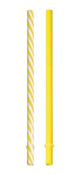 10 Canudos Plastico 19cm Amarelo/branco Dec. Festas