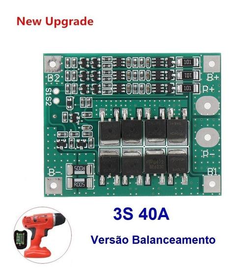Bms 3s 40a Para Bateria Lipo Li-ion Com Função Balanceada
