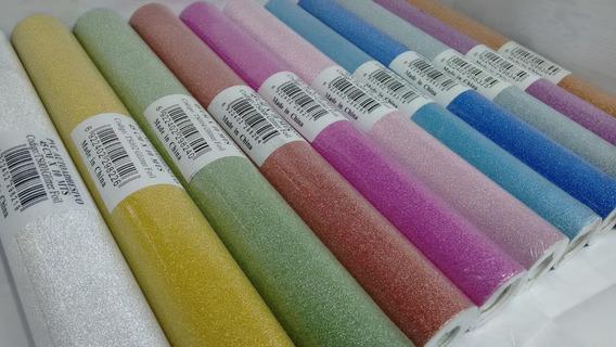 Papel Con Brillo Autoadhesivo Glitter Liso 45 Cm Venta X Mts