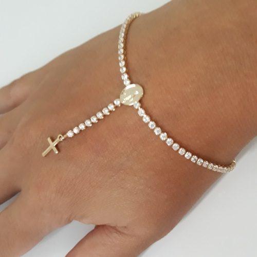 Pulseira Bracelete Terço Noiva Dourada F Ouro Com Zirconia
