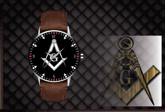 Relógio De Pulso Personalizado Maçonaria Maçon - Cod.1117