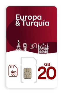 Sim Chip Plan Europa Turquía 20 Gb