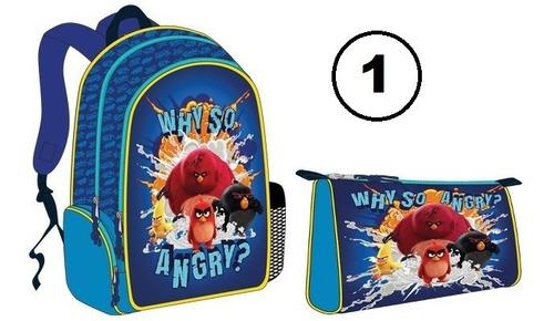 Imagen 1 de 4 de Combo Bolso Morral Escolar Angry Birds Original Capi Nuevo!
