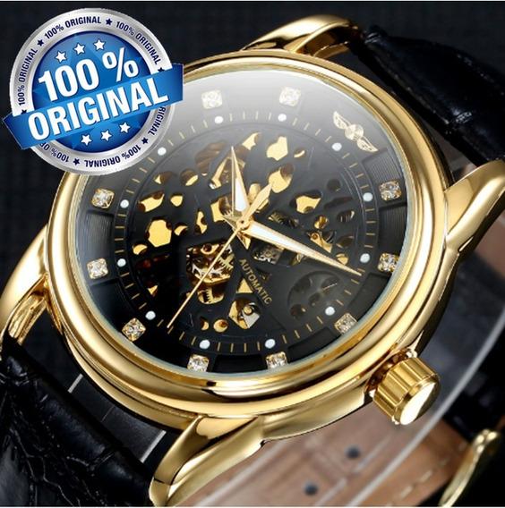 Relogio Masculino Social Forsining Dourado Preto Esqueleto Automatico Ouro Couro Preto Original Social Lindo R25f Lxbr