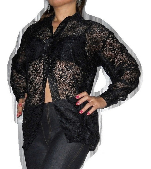 Camisa Calada Negra Super Elegante Sensual Sexy Noche!!
