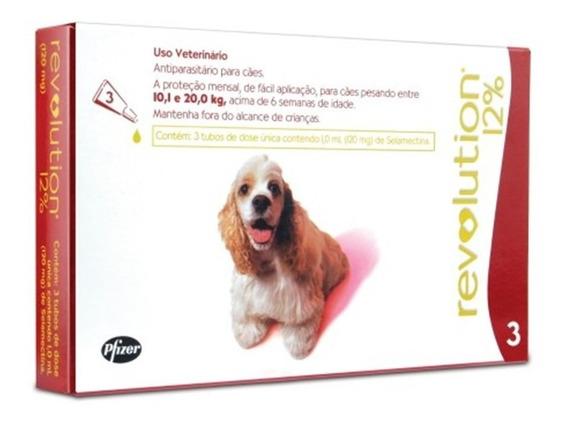 Antipulgas Revolution 12% Cães 10-20kg - 3 Pipetas