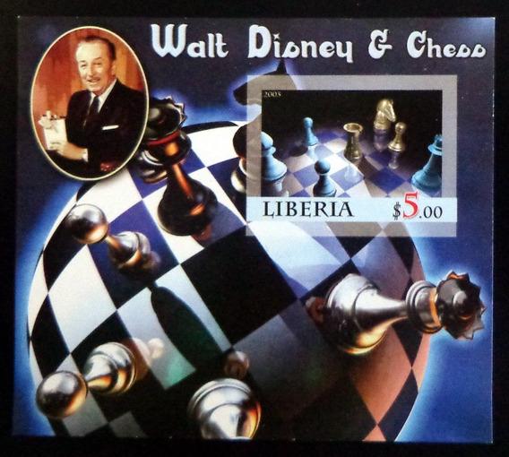 Liberia Ajedrez, Bloque 1 Sello 5p Disney 2005 Mint L7434