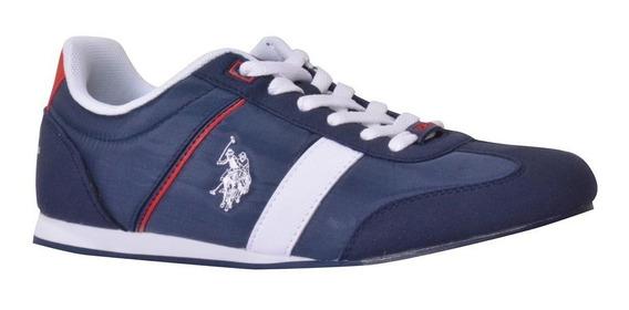 Tenis Us Polo Ariel Azul Marino Y Blanco Caballero