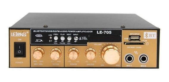 Amplificador Áudio Som Receiver Bluetooth Karaoke Mp3 Usb