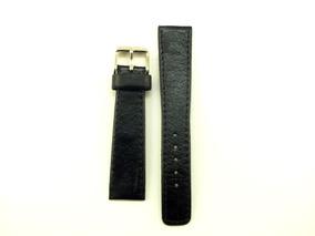 Pulseira Para Relógio Em Couro Preta 20mm Masculina B5378