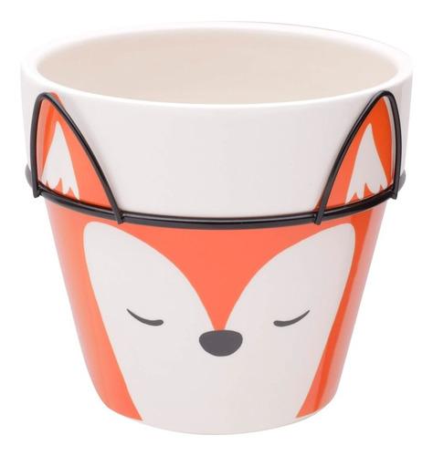 Imagem 1 de 7 de Vaso De Cerâmica Fox Face Laranja 12x12x10,5cm Urban