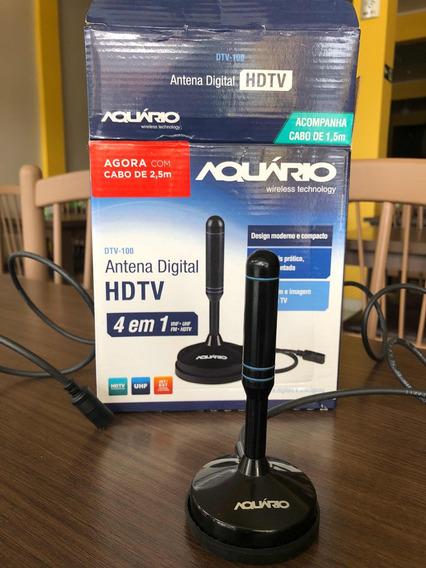 Antena Digital Para Tv Dtv-100 Vhf Uhf Fm E Hdtv Aquário