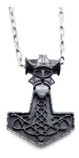 Colar Martelo Mjolnir Viking Thor Prata Velho