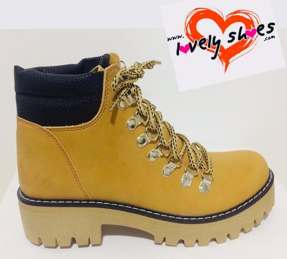 Borcegos Alpinos Zapatos Bajo Eco Cuero Mujer